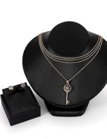 Fashion Gold Color Key Shape Decorated Jewelry Sets
