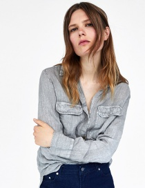 Fashion Gray Pure Color Decorated Shirt