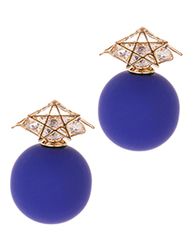 Fashion Sapphire Blue Star Shape Decorated Earrings