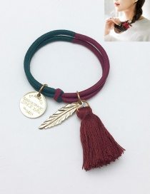 Fasion Claret Red Tassel Decorated Hair Band