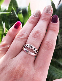 Fashion Silver Color Hollow Out Design Double Layer Ring