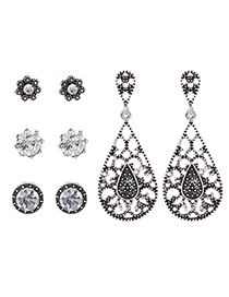 Fashion Silver Color Waterdrop Shape Decorated Earrings(4 Pairs)