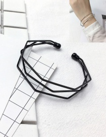 Fashion Black Pure Color Design Multi-layer Opening Bracelet