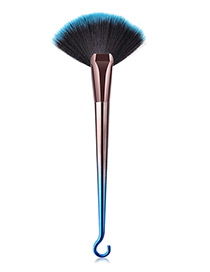 Fashion Blue+black Sector Shape Decorated Makeup Brush