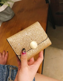 Fashion Gold Color Square Shape Decorated Wallet