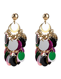Fashion Gold Color Color Matching Decorated Earrings