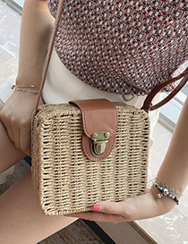 Fashion Khaki Buckle Decorated Shoulder Bag