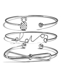 Fashion Silver Color Pineapple&bowknot Shape Decorated Bracelet (3 Pcs )