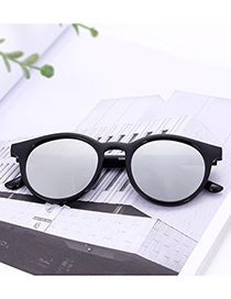 Vintage Black+silver Color Round Shape Decorated Sunglasses
