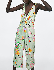 Fashion Green Flower Pattern Decorated Jumpsuit