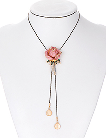 Fashion Plum Red Flower Shape Decorated Necklace
