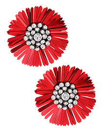 fashion Red Full Diamond Decorated Earrings