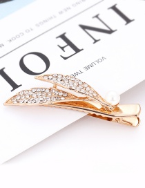Fashion Gold Color Pearl&diamond Decorated Leaf Shape Hair Clip