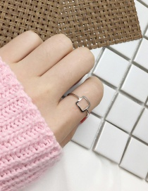 Fashion Silver Color Square Shape Decorated Ring