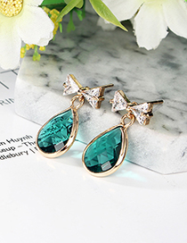 fashion Green Waterdrop&bowknot Shape Decorated Earrings