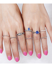 Vintage Silver Color+sapphire Blue Heart Shape Decorated Ring (8 Pcs )