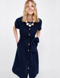 Fashion Navy Button Decorated Dress