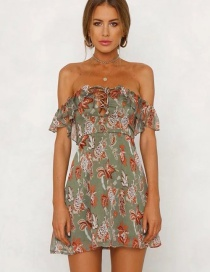 Fashion Olive Hollow Out Design Off Shoulder Dress