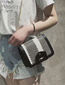 Fashion Black Stripe Pattern Decorated Shoulder Bag