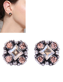Elegant Champagne Diamond Decorated Flower Shape Earrings