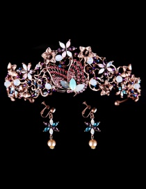 Fashion Antique Gold Butterfly&flower Decorated Hair Accessories(with Earrings)