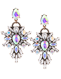 Fashion Multi-color Geometric Shape Diamond Decorated Earrings
