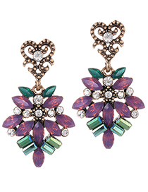 Fashion Purple Geometric Shape Diamond Decorated Earrings