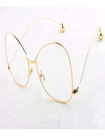 Fashion Gold Color Round Shape Decorated Glasses