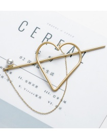 Sweet Gold Color Heart Shape Desgin Pure Color Hair Clip