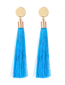 Fashion Blue Tassel Decorated Long Earrings