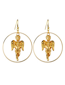 Elegant Gold Color Angel Pendant Decorated Pure Color Earrings
