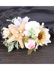 Elegant Multi-color Starfish&flowers Decorated Hair Comb