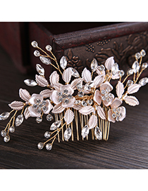 Elegant Gold Color Leaf&flowers Decorated Hair Comb