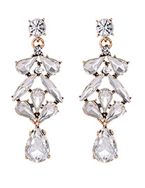 Elegant White Pure Color Design Hollow Out Earrings
