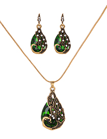 Fashion Green Waterdrop Shape Decorated Jewelry Set
