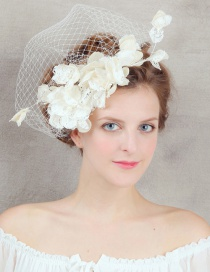 Fashion Beige Pure Color Decorated Flower Hair Accessories