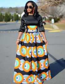 Fashion Multi-color Round Pattern Decorated Dress