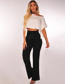 Fashion Black Pure Color Decorated Pants