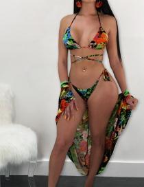 Sexy Green Off-the-shoulder Design Flower Pattern Swimwear(3pcs)