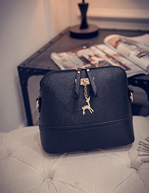 Fashion Black Deer Shape Decorated Shoulder Bag