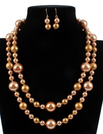Fashion Khaki Pearl Decorated Jewelry Sets
