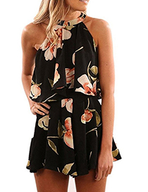 Fashion Black Off-the-shoulder Design Flower Pattern Dress
