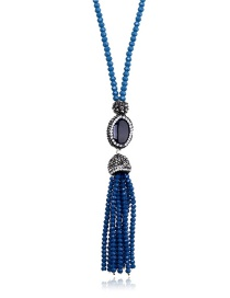 Fashion Blue Tassel Decorated Necklace