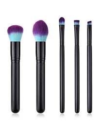 Fashion Black Round Shape Decorated Makeup Brush (5 Pcs )
