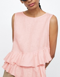 Fashion Pink Pure Color Design Sleeveless Blouse