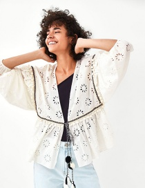 Fashion White Hollow Out Design Embroidered Coat