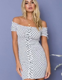 Fashion White Dot Pattern Decorated Off Shoulder Dress