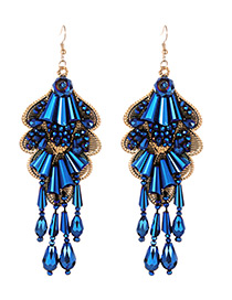 Vintage Sapphire Blue Irregular Shape Design Tassel Earrings