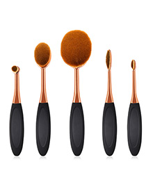 Fashion Rose Gold +black Color Matching Design Cosmetic Brush(5pcs)