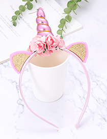 Fashion Pink Unicorn Shape Decorated Hair Hoop